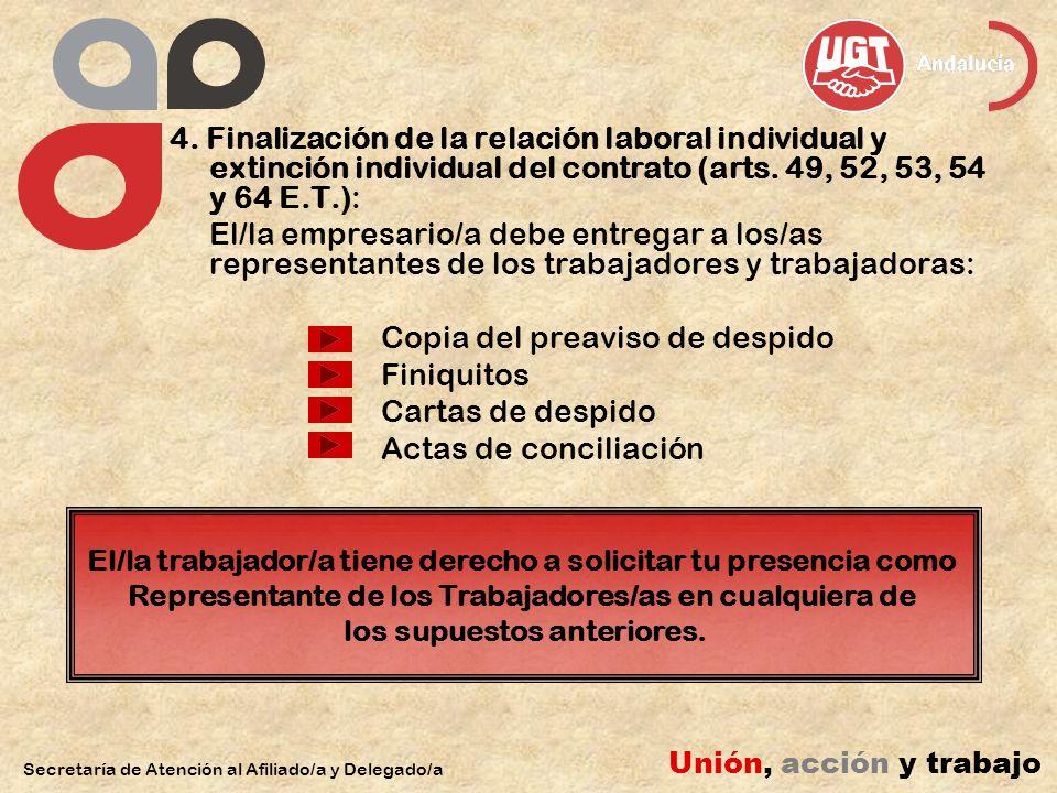 4. Finalización de la relación laboral individual y extinción individual del contrato (arts.