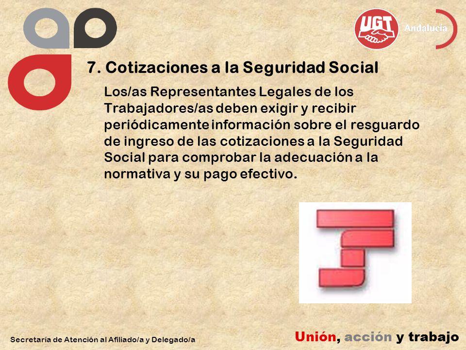 7. Cotizaciones a la Seguridad Social Los/as Representantes Legales de los Trabajadores/as deben exigir y recibir periódicamente información sobre el