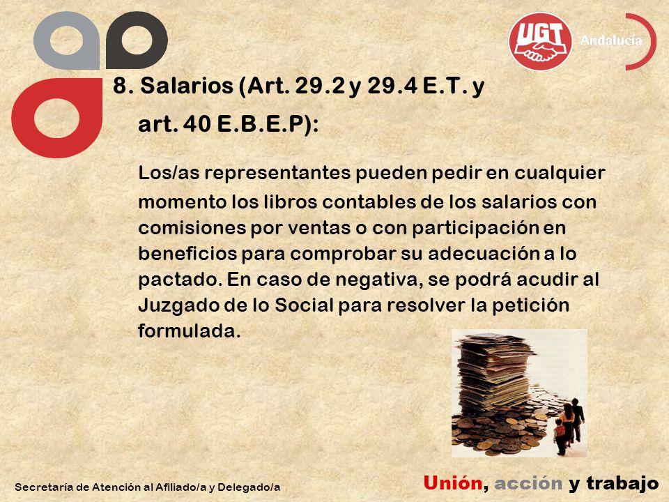 8. Salarios (Art. 29.2 y 29.4 E.T. y art.
