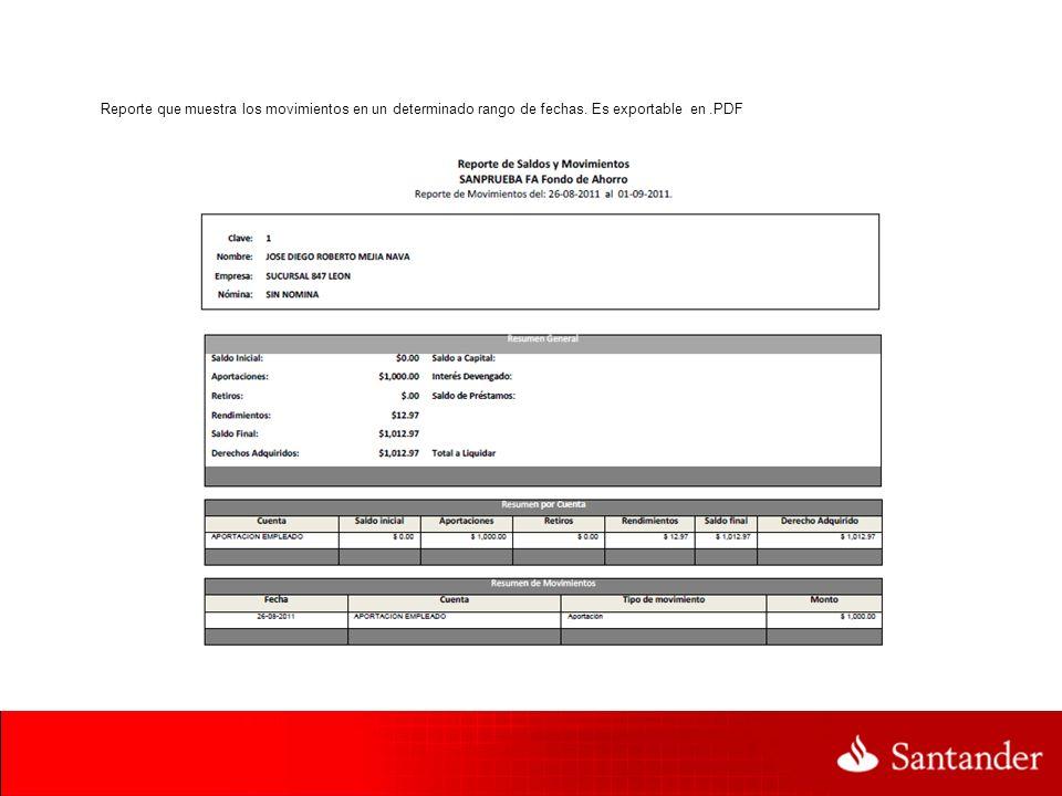 Reporte que muestra los movimientos en un determinado rango de fechas. Es exportable en.PDF