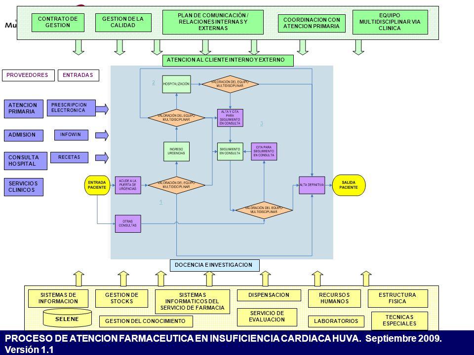 PROCESO DE ATENCION FARMACEUTICA EN INSUFICIENCIA CARDIACA HUVA. Septiembre 2009. Versión 1.1 1 2 3 SISTEMAS DE INFORMACION GESTION DE STOCKS SISTEMAS