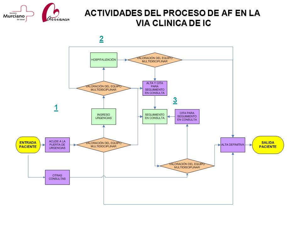 ACTIVIDADES DEL PROCESO DE AF EN LA VIA CLINICA DE IC 2 3 1