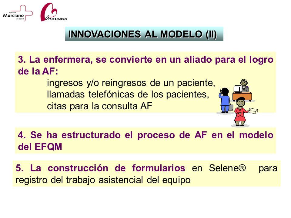 4. Se ha estructurado el proceso de AF en el modelo del EFQM INNOVACIONES AL MODELO (II) 5. La construcción de formularios en Selene® para registro de