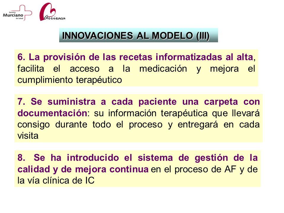 7. Se suministra a cada paciente una carpeta con documentación: su información terapéutica que llevará consigo durante todo el proceso y entregará en