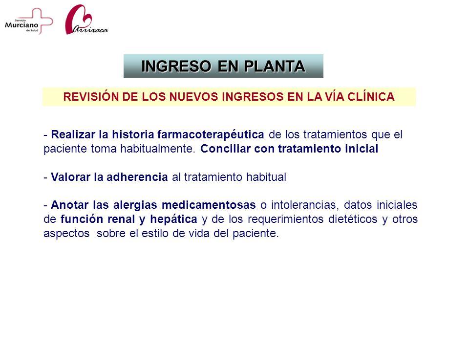 - Realizar la historia farmacoterapéutica de los tratamientos que el paciente toma habitualmente. Conciliar con tratamiento inicial - Valorar la adher