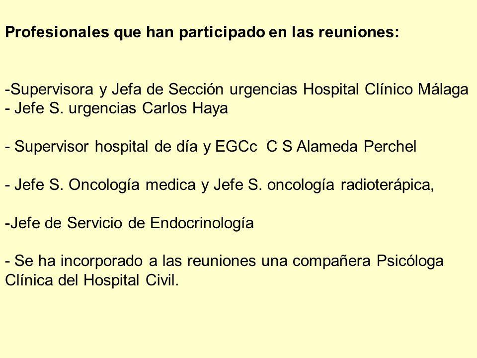 Profesionales que han participado en las reuniones: -Supervisora y Jefa de Sección urgencias Hospital Clínico Málaga - Jefe S. urgencias Carlos Haya -