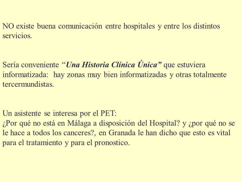 NO existe buena comunicación entre hospitales y entre los distintos servicios. Sería conveniente Una Historia Clínica Única que estuviera informatizad
