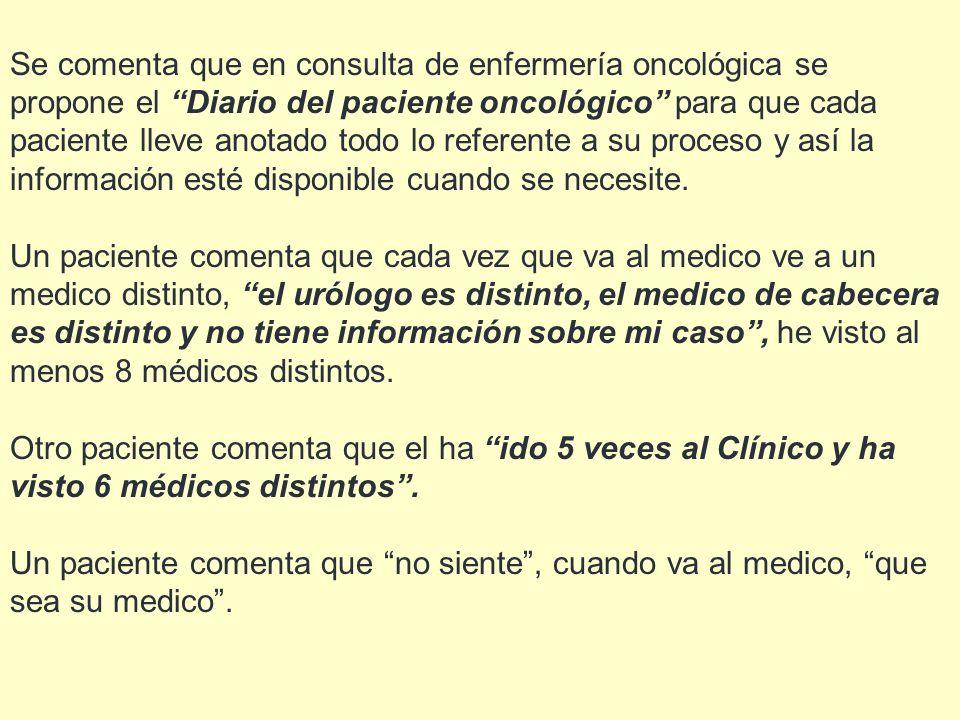 Se comenta que en consulta de enfermería oncológica se propone el Diario del paciente oncológico para que cada paciente lleve anotado todo lo referent