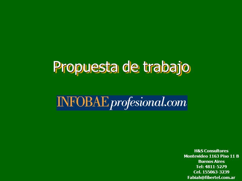 Propuesta de trabajo H&S Consultores Montevideo 1163 Piso 11 B Buenos Aires Tel: 4811-5279 Cel.