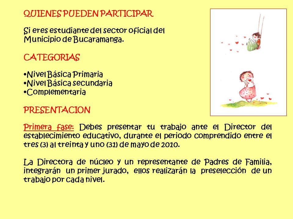 QUIENES PUEDEN PARTICIPAR Si eres estudiante del sector oficial del Municipio de Bucaramanga.