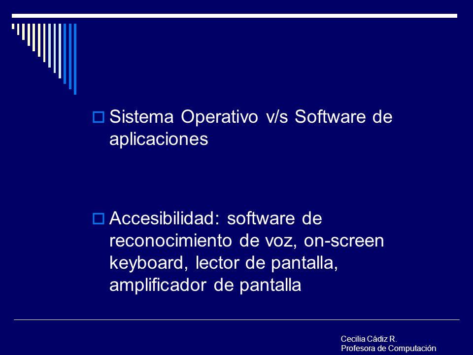 Sistema Operativo v/s Software de aplicaciones Accesibilidad: software de reconocimiento de voz, on-screen keyboard, lector de pantalla, amplificador