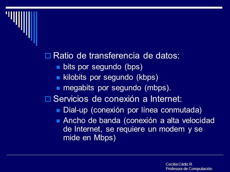 Ratio de transferencia de datos: bits por segundo (bps) kilobits por segundo (kbps) megabits por segundo (mbps). Servicios de conexión a Internet: Dia