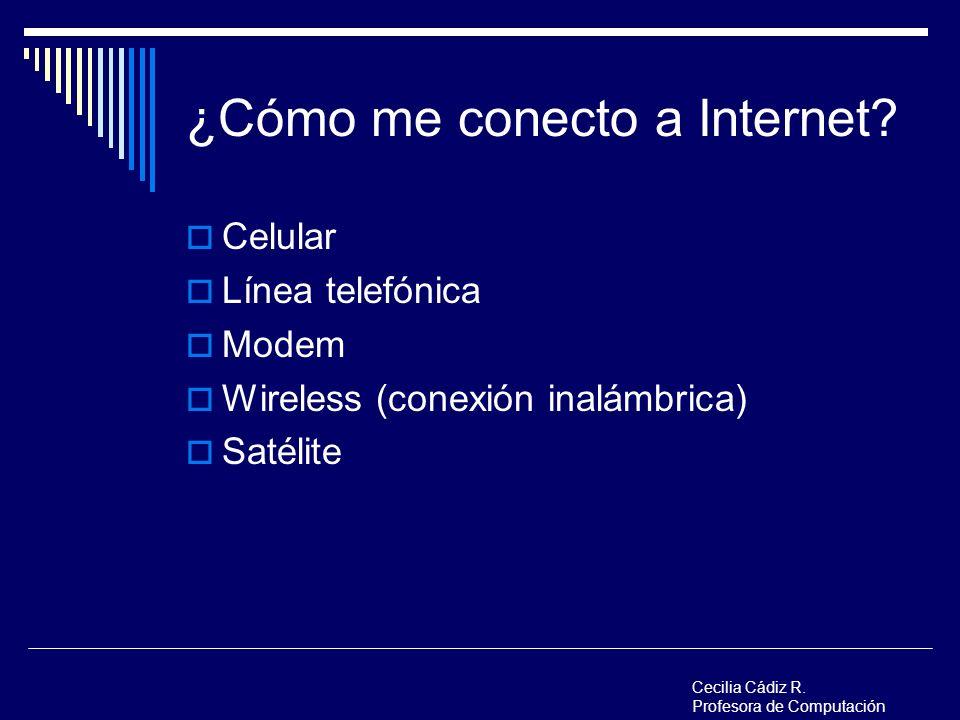 ¿Cómo me conecto a Internet? Celular Línea telefónica Modem Wireless (conexión inalámbrica) Satélite Cecilia Cádiz R. Profesora de Computación