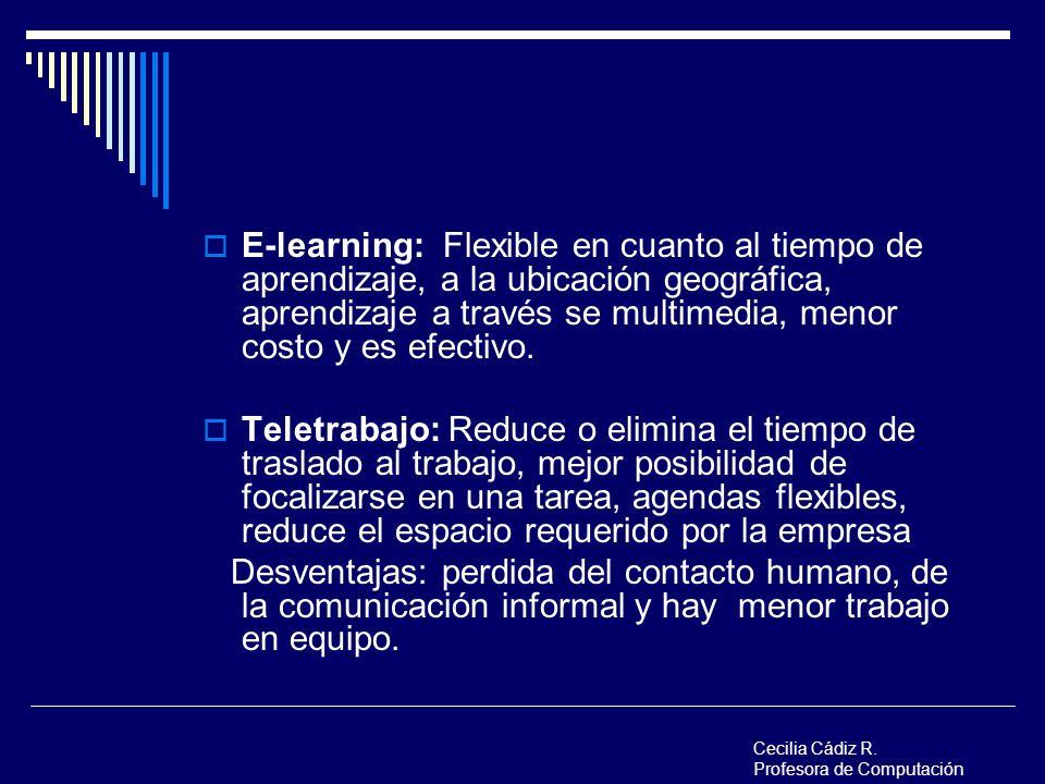 E-learning: Flexible en cuanto al tiempo de aprendizaje, a la ubicación geográfica, aprendizaje a través se multimedia, menor costo y es efectivo. Tel