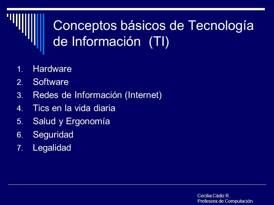 Conceptos básicos de Tecnología de Información (TI) 1. Hardware 2. Software 3. Redes de Información (Internet) 4. Tics en la vida diaria 5. Salud y Er