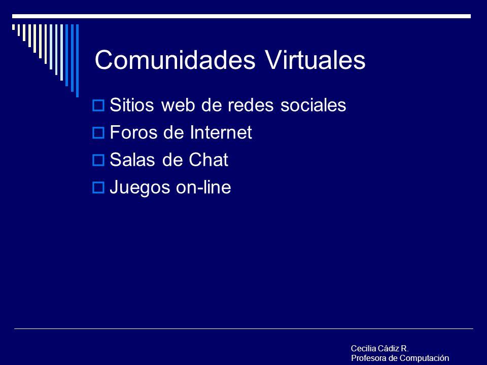 Comunidades Virtuales Sitios web de redes sociales Foros de Internet Salas de Chat Juegos on-line Cecilia Cádiz R. Profesora de Computación