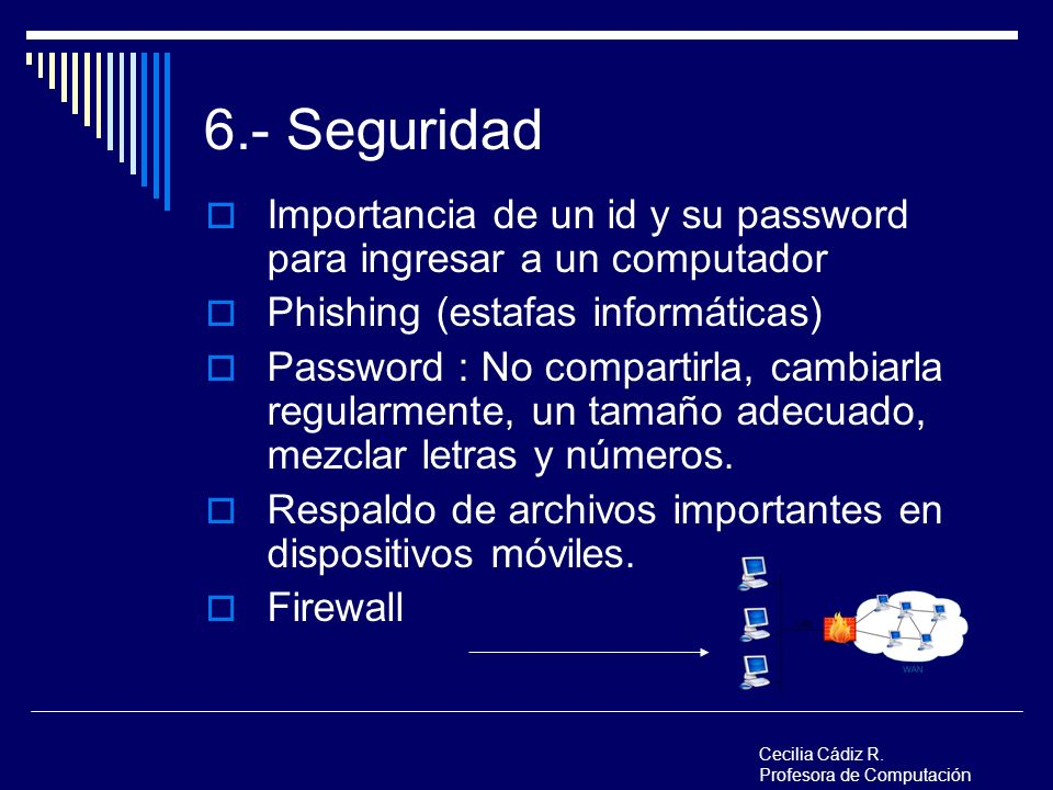 6.- Seguridad Importancia de un id y su password para ingresar a un computador Phishing (estafas informáticas) Password : No compartirla, cambiarla re