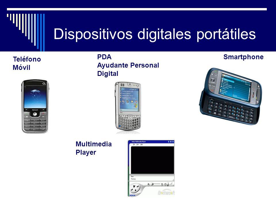 Dispositivos digitales portátiles PDA Ayudante Personal Digital Teléfono Móvil Smartphone Multimedia Player