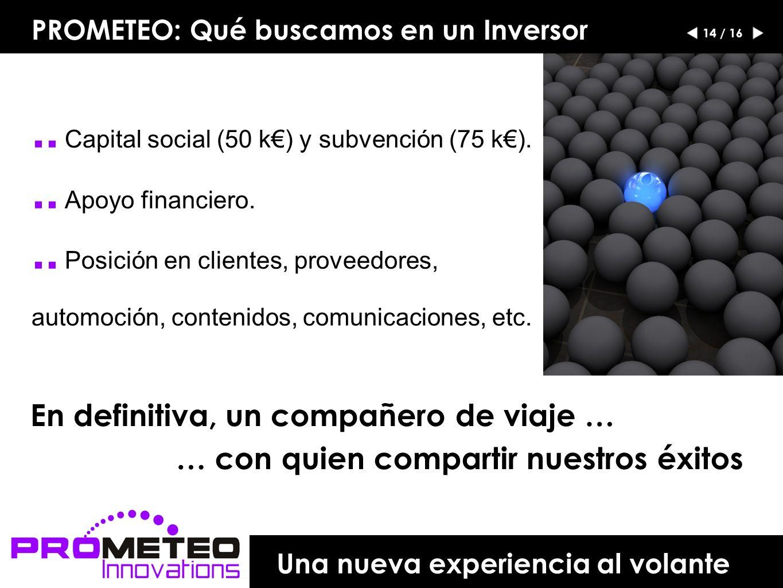 PROMETEO: Qué buscamos en un Inversor.. Capital social (50 k) y subvención (75 k)...