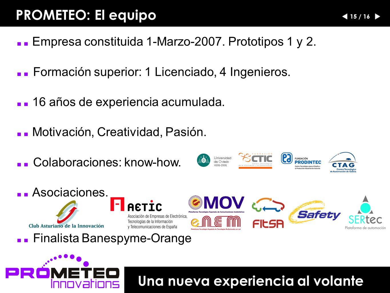 .. Empresa constituida 1-Marzo-2007. Prototipos 1 y 2...