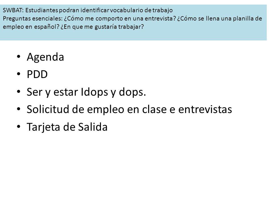 Agenda PDD Ser y estar Idops y dops.