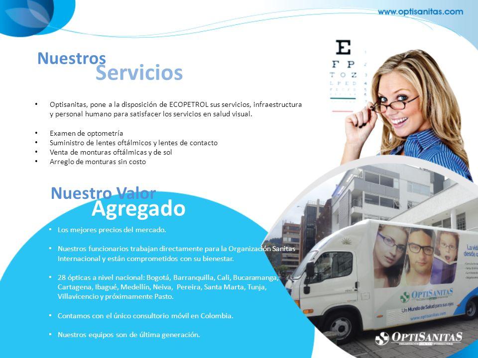 Optisanitas, pone a la disposición de ECOPETROL sus servicios, infraestructura y personal humano para satisfacer los servicios en salud visual. Examen