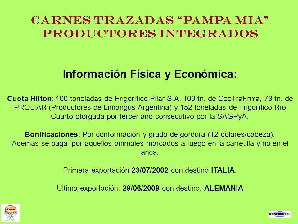 Carnes Trazadas Pampa Mia Productores Integrados Información Física y Económica: Cuota Hilton: 100 toneladas de Frigorífico Pilar S.A, 100 tn. de CooT
