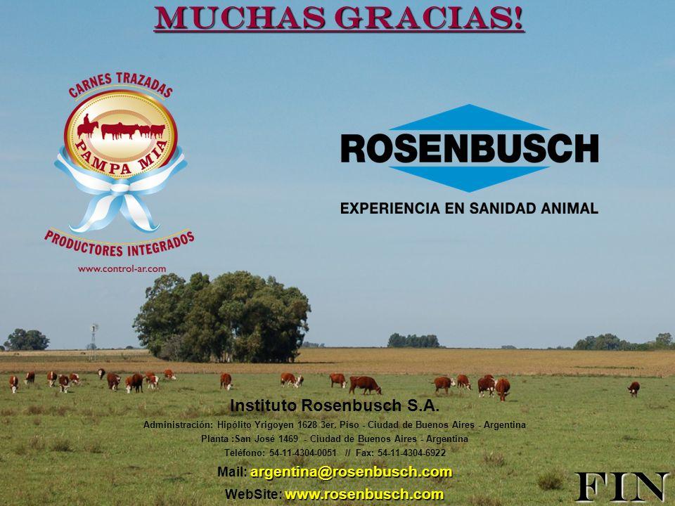 Muchas gracias! Instituto Rosenbusch S.A. Administración: Hipólito Yrigoyen 1628 3er. Piso - Ciudad de Buenos Aires - Argentina Planta :San José 1469