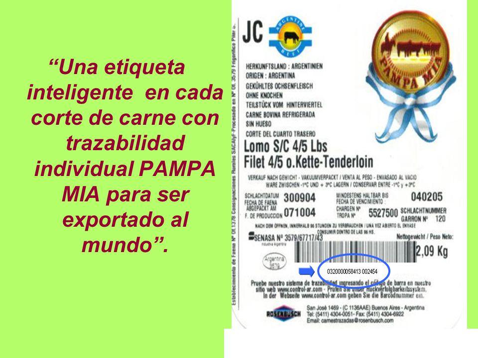 Una etiqueta inteligente en cada corte de carne con trazabilidad individual PAMPA MIA para ser exportado al mundo.