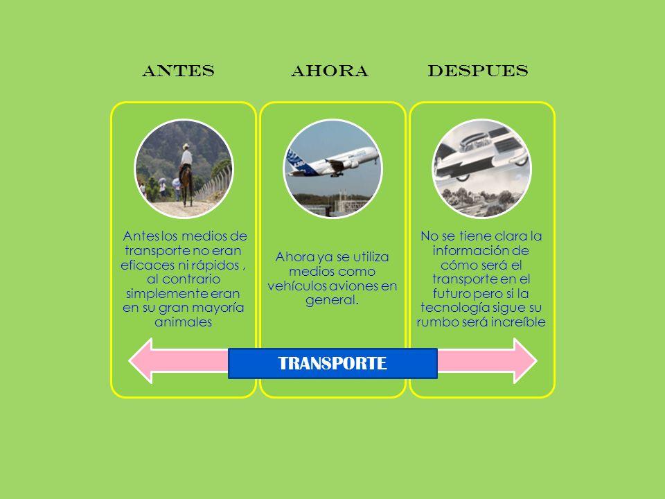 Antes los medios de transporte no eran eficaces ni rápidos, al contrario simplemente eran en su gran mayoría animales Ahora ya se utiliza medios como