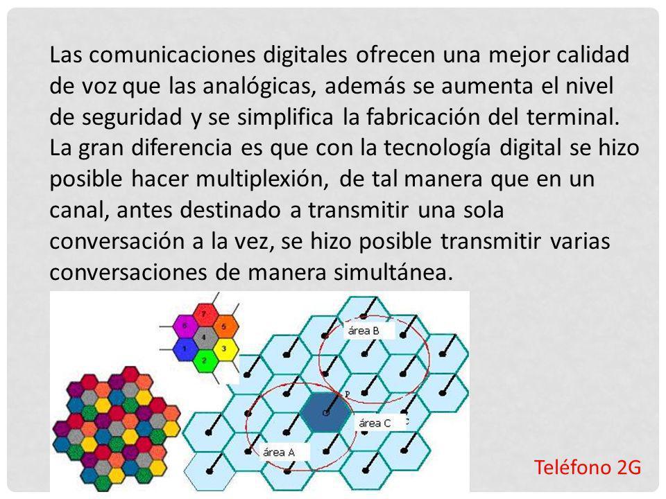 Teléfono 2G Las comunicaciones digitales ofrecen una mejor calidad de voz que las analógicas, además se aumenta el nivel de seguridad y se simplifica