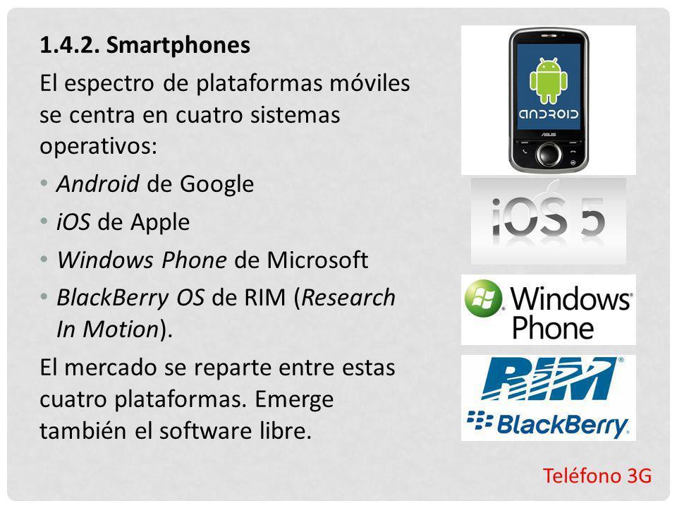 Teléfono 3G 1.4.2. Smartphones El espectro de plataformas móviles se centra en cuatro sistemas operativos: Android de Google iOS de Apple Windows Phon