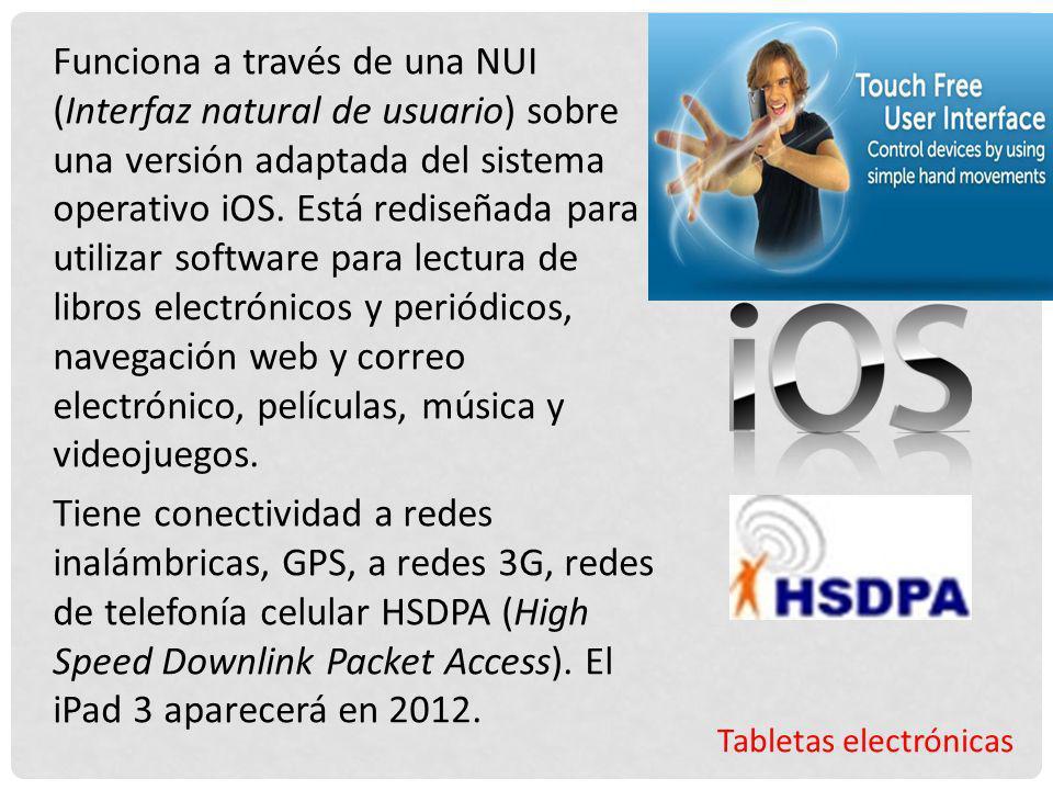 Tabletas electrónicas Funciona a través de una NUI (Interfaz natural de usuario) sobre una versión adaptada del sistema operativo iOS. Está rediseñada