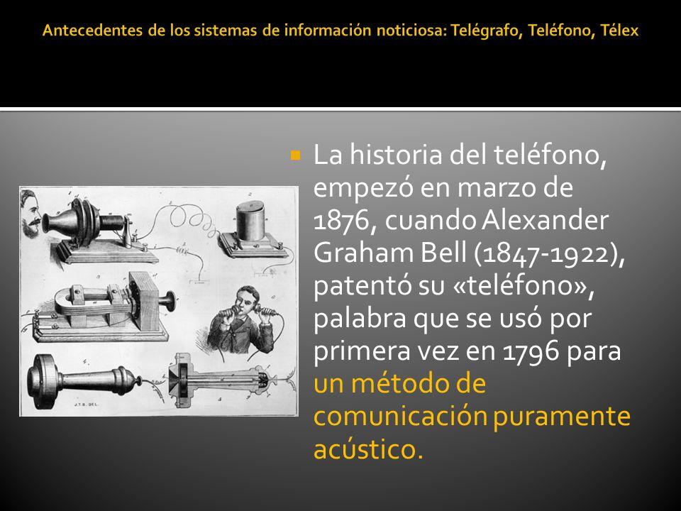La historia del teléfono, empezó en marzo de 1876, cuando Alexander Graham Bell (1847-1922), patentó su «teléfono», palabra que se usó por primera vez