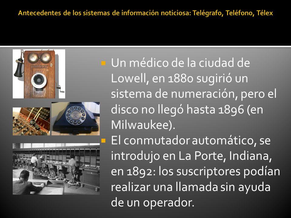 Un médico de la ciudad de Lowell, en 1880 sugirió un sistema de numeración, pero el disco no llegó hasta 1896 (en Milwaukee). El conmutador automático