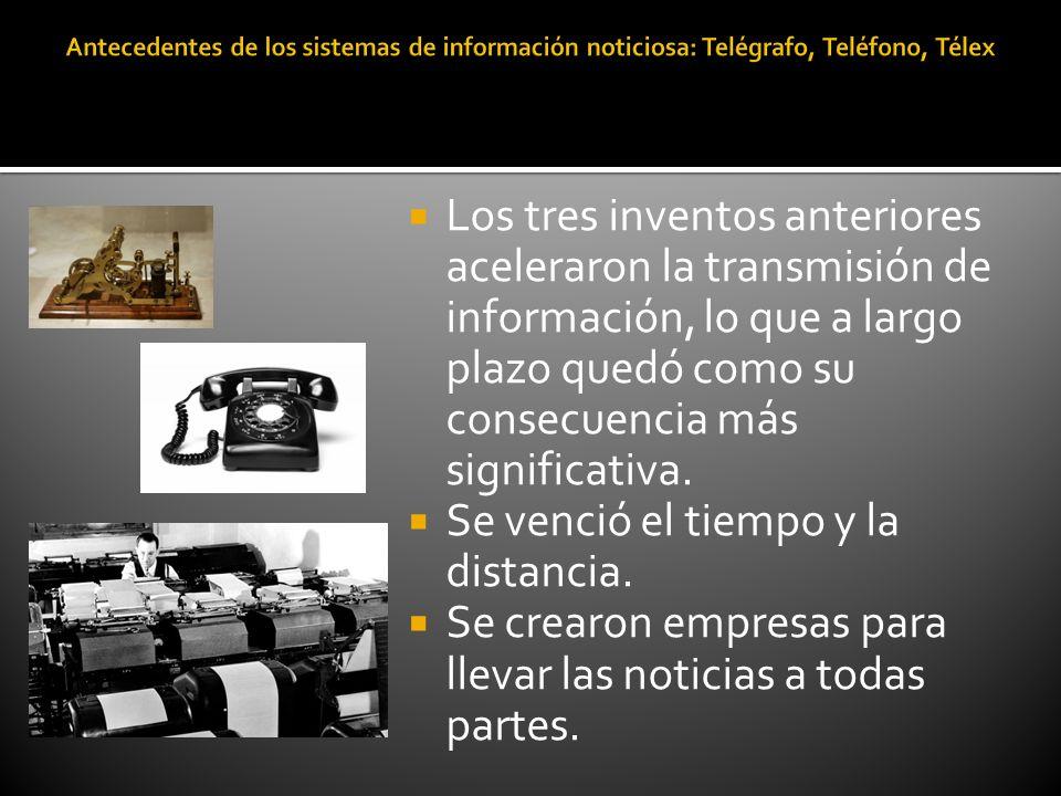 Los tres inventos anteriores aceleraron la transmisión de información, lo que a largo plazo quedó como su consecuencia más significativa. Se venció el