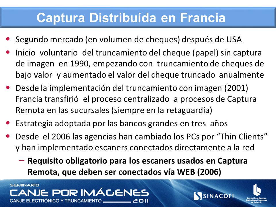Captura Distribuída en Francia Segundo mercado (en volumen de cheques) después de USA Inicio voluntario del truncamiento del cheque (papel) sin captur