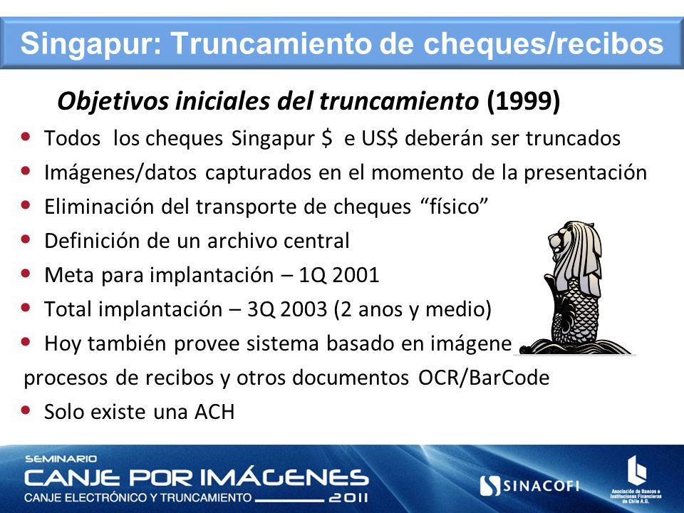 Objetivos iniciales del truncamiento (1999) Todos los cheques Singapur $ e US$ deberán ser truncados Imágenes/datos capturados en el momento de la pre