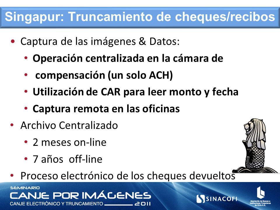 Captura de las imágenes & Datos: Operación centralizada en la cámara de compensación (un solo ACH) Utilización de CAR para leer monto y fecha Captura