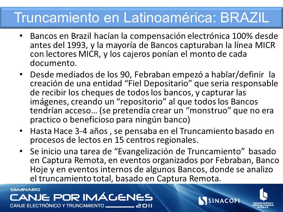 Bancos en Brazil hacían la compensación electrónica 100% desde antes del 1993, y la mayoría de Bancos capturaban la línea MICR con lectores MICR, y lo