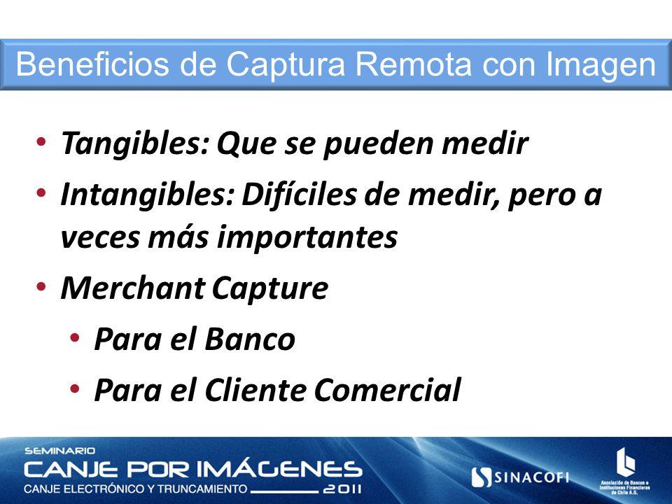 Tangibles: Que se pueden medir Intangibles: Difíciles de medir, pero a veces más importantes Merchant Capture Para el Banco Para el Cliente Comercial