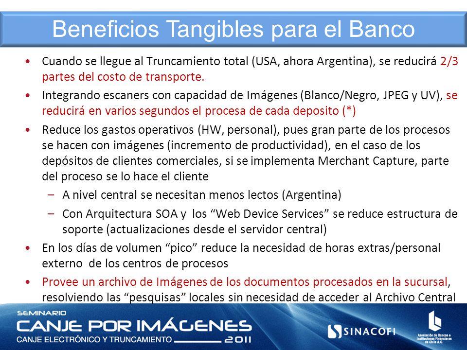 Cuando se llegue al Truncamiento total (USA, ahora Argentina), se reducirá 2/3 partes del costo de transporte. Integrando escaners con capacidad de Im