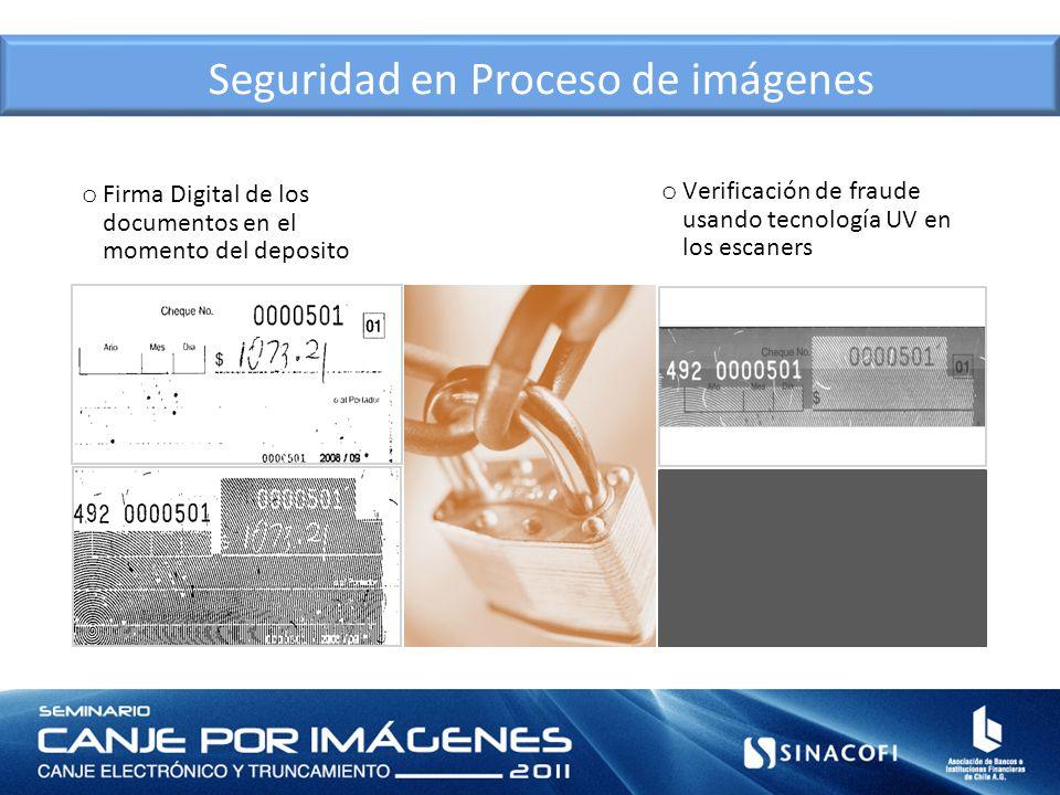 Seguridad en Proceso de imágenes o Firma Digital de los documentos en el momento del deposito o Verificación de fraude usando tecnología UV en los esc