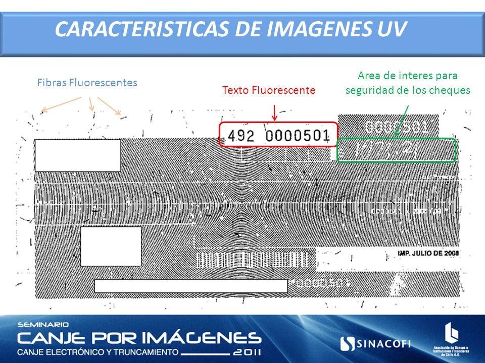 Fibras Fluorescentes Texto Fluorescente Area de interes para seguridad de los cheques CARACTERISTICAS DE IMAGENES UV