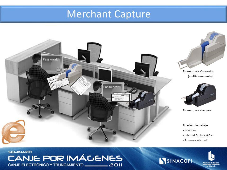 Merchant Capture Estación de trabajo - Windows - Internet Explore 6.0 + - Acceso a Internet Escaner para Convenios (multi-documento) Escaner para cheq