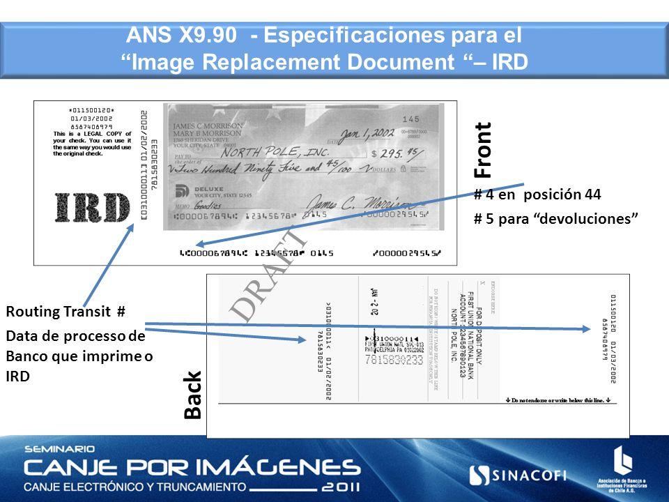 Front Back DRAFT 8 ANS X9.90 - Especificaciones para el Image Replacement Document – IRD # 4 en posición 44 # 5 para devoluciones Routing Transit # Da