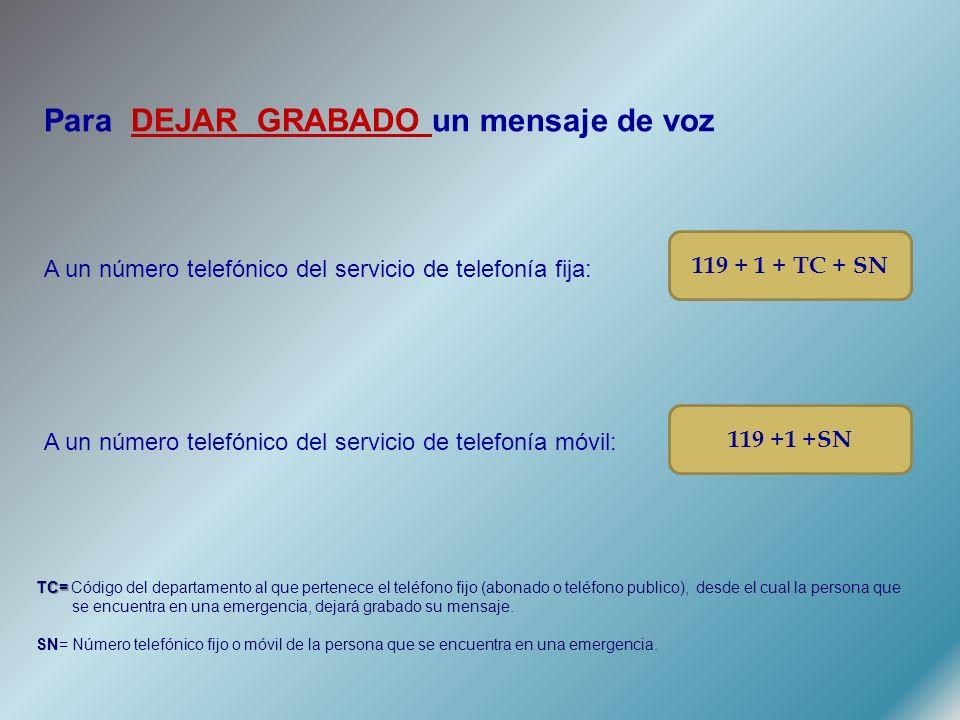 Para DEJAR GRABADO un mensaje de voz A un número telefónico del servicio de telefonía fija: A un número telefónico del servicio de telefonía móvil: 119 + 1 + TC + SN 119 +1 +SN TC= TC= Código del departamento al que pertenece el teléfono fijo (abonado o teléfono publico), desde el cual la persona que se encuentra en una emergencia, dejará grabado su mensaje.