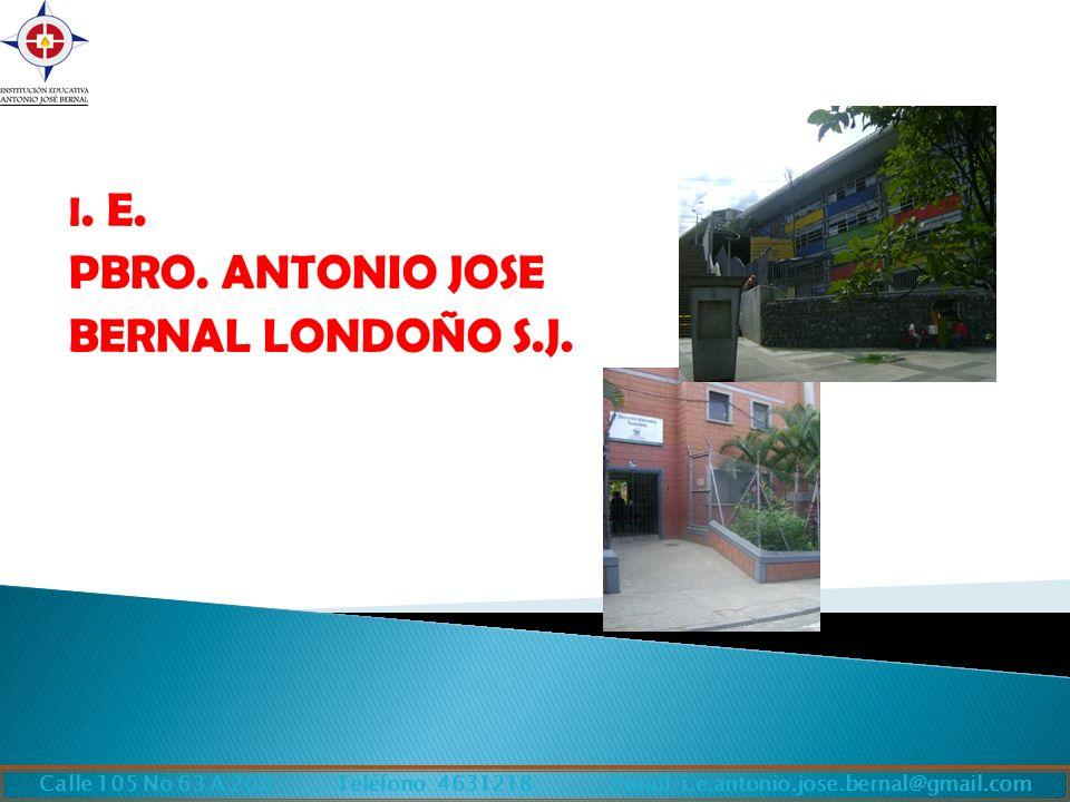 Visión Para el año 2015, la Institución Educativa Presbítero Antonio José Bernal Londoño, S.J será reconocida a nivel nacional, por la generación de procesos educativos con calidad pedagógica y didáctica; a través del liderazgo transformador de las personas, la investigación científica y la integración las nuevas tecnologías de la comunicación.