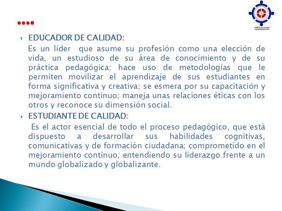 EDUCADOR DE CALIDAD: Es un líder que asume su profesión como una elección de vida, un estudioso de su área de conocimiento y de su práctica pedagógica
