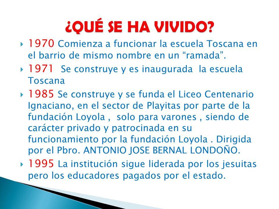1970 Comienza a funcionar la escuela Toscana en el barrio de mismo nombre en un ramada. 1971 Se construye y es inaugurada la escuela Toscana 1985 Se c
